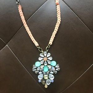 Anthropologie Rhinestone Flower Statement Necklace
